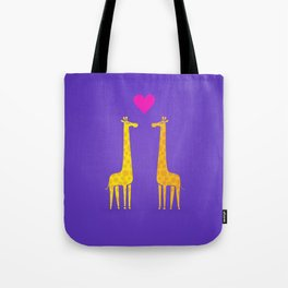 Cute cartoon giraffe couple in Love (Purple Edition) Tote Bag