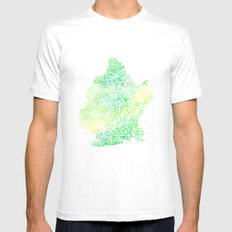 Typographic Brooklyn - Green Watercolor map art White Mens Fitted Tee MEDIUM