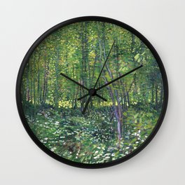 1887-Vincent van Gogh-Trees and undergrowth Wall Clock