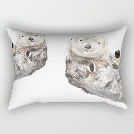 Sea Otters Watercolor Painting Rectangular Pillow