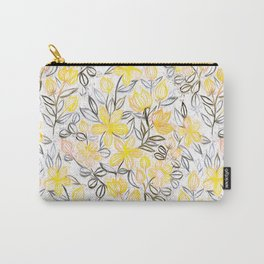 Sunny Yellow Crayon Striped Summer Floral Carry-All Pouch