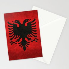 Albanian Flag in Vintage Retro Style Stationery Cards