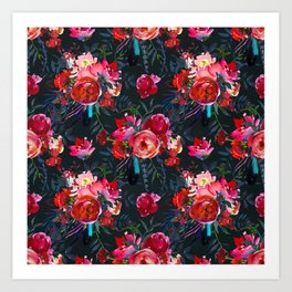 Cheerful Bright Magenta and  Pink Bouquets with Feathers on Black Art Print