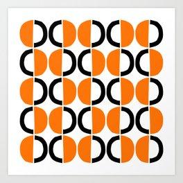 Mid Century Modern Half Circle Pattern 566 Orange and Black Art Print