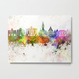 Lille skyline in watercolor background Metal Print