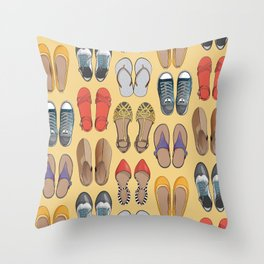 Hard choice // shoes on yellow background Throw Pillow