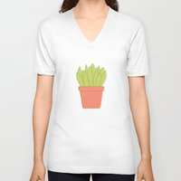 plant V-neck T-shirts featuring Plant by Yellow Chair Design