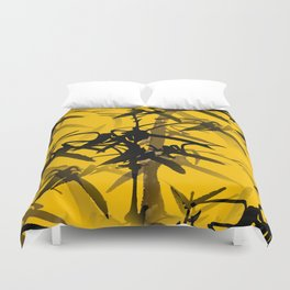 Bamboo Branches On A Yellow Background #decor #society6 #buyart #pivivikstrm Duvet Cover