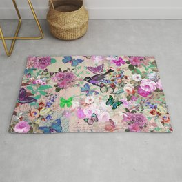 Bohemian vintage pink green floral collage typography Rug