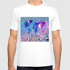 world map city skyline galaxy Mens Fitted Tee MEDIUM White