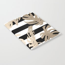 Simply Tropical Palm Leaves on Stripes Notebook