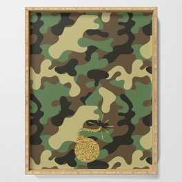 CAMO & GOLD GLITTER BOMB DIGGITY Serving Tray
