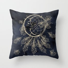 GOLDEN MOON IN DARK NIGHT Throw Pillow