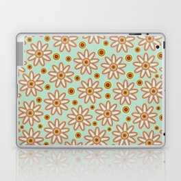 Retro flowers and pilka dots on turquoise Laptop & iPad Skin