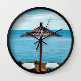 Beach umbrella at the sea in Premantura Wall Clock