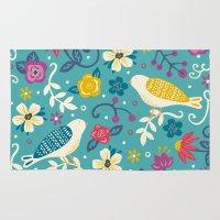 garden Area & Throw Rugs featuring Garden Birds by Anna Deegan