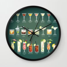 36 Cocktails Wall Clock