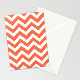 Outrageous Orange - orange color -  Zigzag Chevron Pattern Stationery Cards
