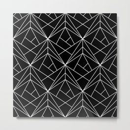 White Geometric Pattern on Black Background Metal Print