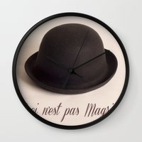 magritte Wall Clocks featuring Magritte - Ceci n'est pas Magritte by Maressa Andrioli