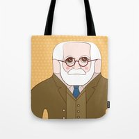 freud Tote Bags featuring Sigmund Freud by Late Greats