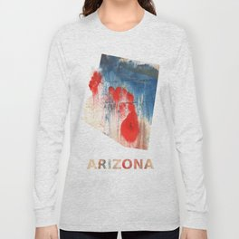 Arizona map outline Red Blue nebulous watercolor Long Sleeve T-shirt