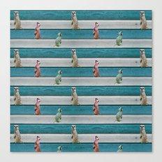 Meercat Beach Stripes Canvas Print