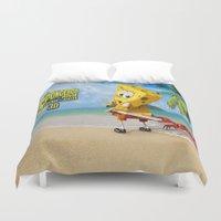 spongebob Duvet Covers featuring spongebob squarepants,cartoon,patrick,Squidward,sandy,Mr. Krabs by rosita
