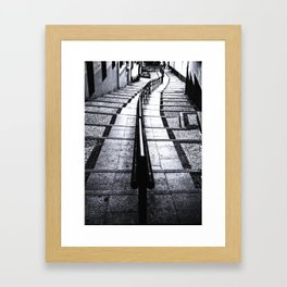 lines and stairs in black and white Framed Art Print