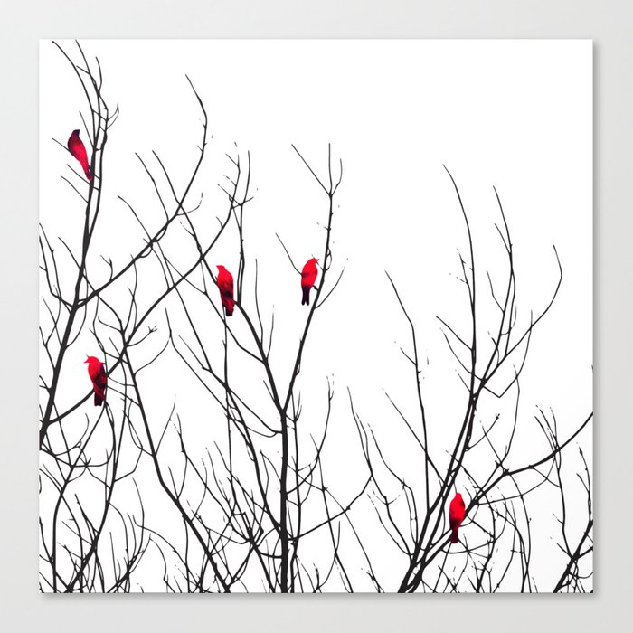 Artistic Bright Red Birds on Tree Branches Leinwanddruck