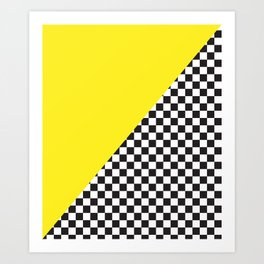 Checkered Flag Pattern Print with Neon Bright Yellow Art Print