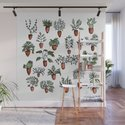 Succulent Houseplants in Terracotta Pots, Watercolor Cacti & Plant Wall Art by limolida