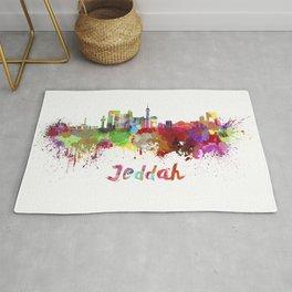 Jeddah skyline in watercolor Rug