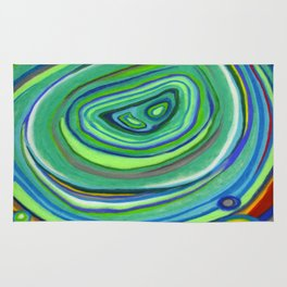 Vibrant Pastel on Suede Tree Ring Abstract by annmariescreations Rug