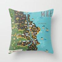 milwaukee Throw Pillows featuring Mapping  Milwaukee by Manuja Waldia