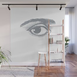 I see you. Gray on White Wall Mural