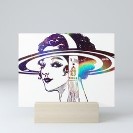 Psychedelic Woman in the Cosmos Mini Art Print