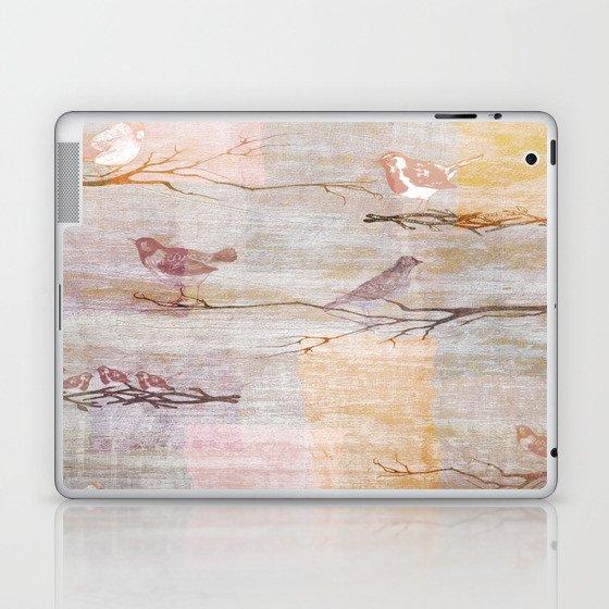Golden Pink Birds Laptop & iPad Skin