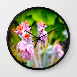 Hanging Purple and Orange Flowers Wall Clock