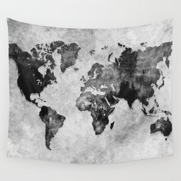 map black and white #map #world Wall Tapestry