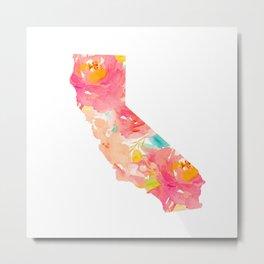 california floral print map Metal Print