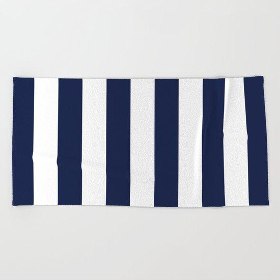 Indigo Navy Blue Stripes Vertical Beach Towel