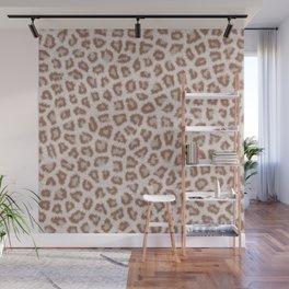 Abstract hipster brown white cheetah animal print Wall Mural