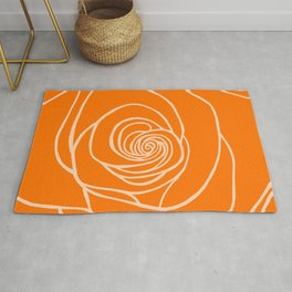 Orange Rose Drawing Rug