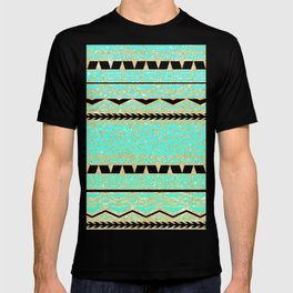Modern gold turquoise teal ombre aztec pattern T-shirt