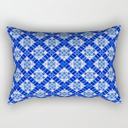 Sapphire Blue Patchwork Rectangular Pillow