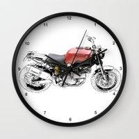 ducati Wall Clocks featuring Ducati Scrambler by Larsson Stevensem