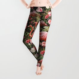 Floral and Flemingo Pattern Leggings