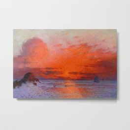 Red Skies at Night, Sailor's Delight, Sailboats landscape painting by Ferdinand Du Puigaudeau Metal Print