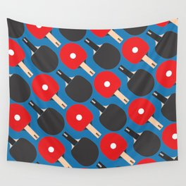 Ping Pong / Table Tennis Pattern (Blue) Wall Tapestry